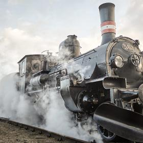 Vintage Train with steam
