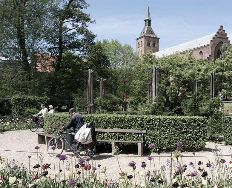 The Odense Cathedral as seen from the park