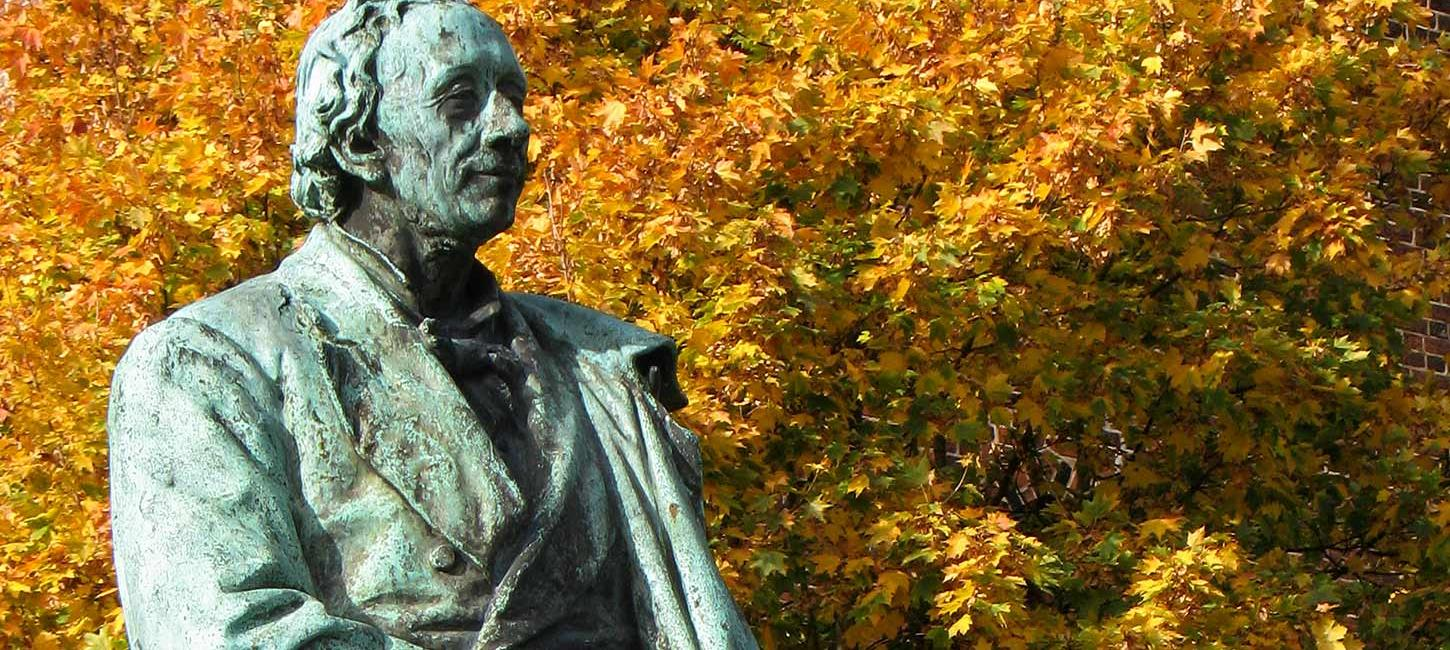 Hans Christian Andersen with autumn leaves